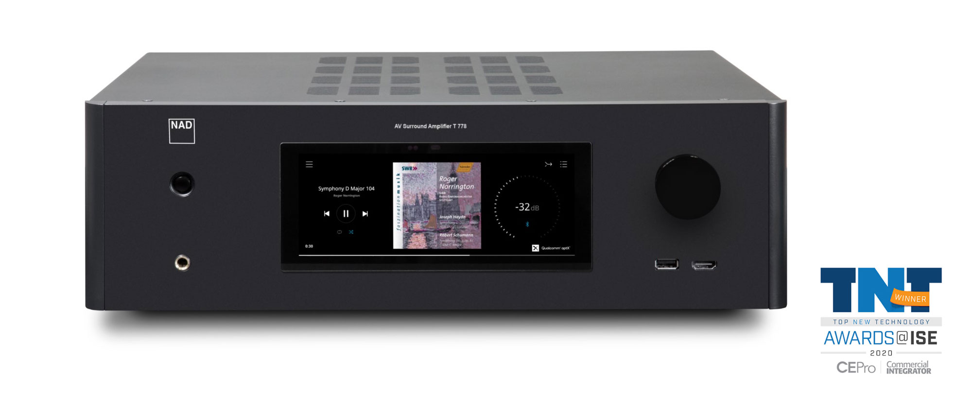 NAD T778 AV SURROUND SOUND RECEIVER praised as TOP NEW TECHNOLOGY WINNER at ISE EXPO in Amsterdam, Feb 2020